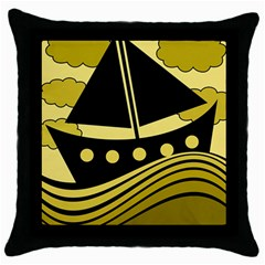 Boat   Yellow Throw Pillow Case (black) by Valentinaart