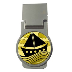 Boat   Yellow Money Clips (round)  by Valentinaart