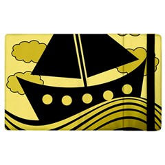 Boat   Yellow Apple Ipad 2 Flip Case by Valentinaart