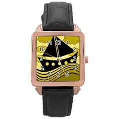 Boat   Yellow Rose Gold Leather Watch  by Valentinaart