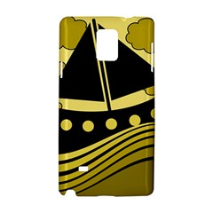 Boat   Yellow Samsung Galaxy Note 4 Hardshell Case by Valentinaart