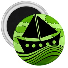 Boat   Green 3  Magnets by Valentinaart