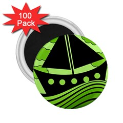 Boat   Green 2 25  Magnets (100 Pack)  by Valentinaart