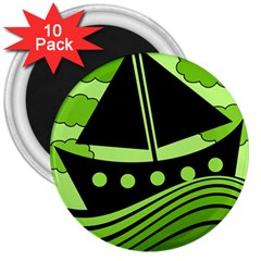Boat   Green 3  Magnets (10 Pack)  by Valentinaart