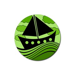 Boat   Green Rubber Round Coaster (4 Pack)  by Valentinaart