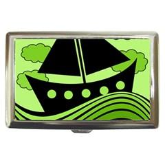 Boat   Green Cigarette Money Cases by Valentinaart