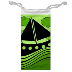 Boat   Green Jewelry Bags by Valentinaart