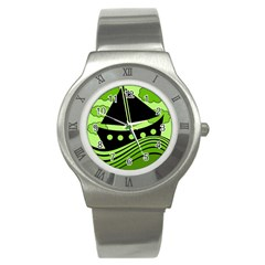 Boat   Green Stainless Steel Watch by Valentinaart