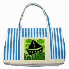 Boat   Green Striped Blue Tote Bag by Valentinaart