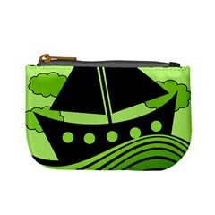 Boat   Green Mini Coin Purses by Valentinaart