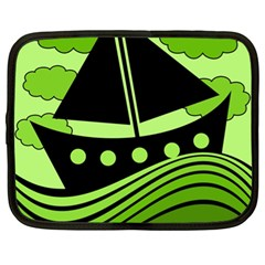 Boat   Green Netbook Case (xl)  by Valentinaart