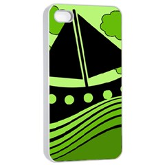 Boat   Green Apple Iphone 4/4s Seamless Case (white) by Valentinaart