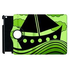 Boat   Green Apple Ipad 2 Flip 360 Case by Valentinaart