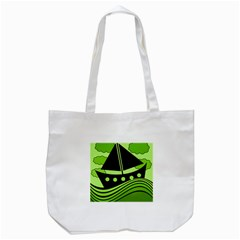 Boat   Green Tote Bag (white) by Valentinaart