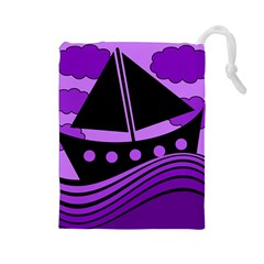 Boat   Purple Drawstring Pouches (large)  by Valentinaart