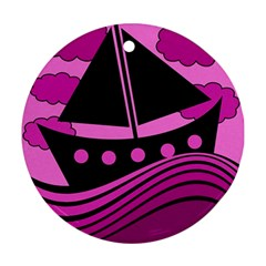 Boat - magenta Round Ornament (Two Sides)