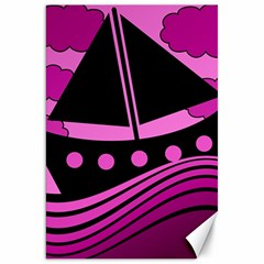 Boat   Magenta Canvas 20  X 30   by Valentinaart