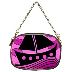 Boat - magenta Chain Purses (Two Sides)  by Valentinaart