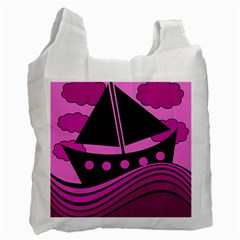 Boat   Magenta Recycle Bag (one Side) by Valentinaart