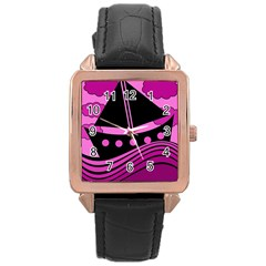 Boat   Magenta Rose Gold Leather Watch  by Valentinaart