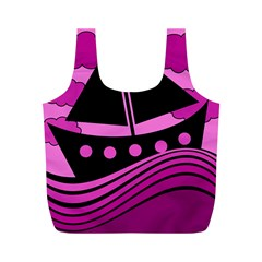 Boat   Magenta Full Print Recycle Bags (m)  by Valentinaart