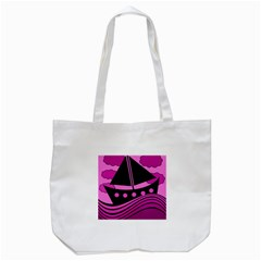 Boat   Magenta Tote Bag (white) by Valentinaart