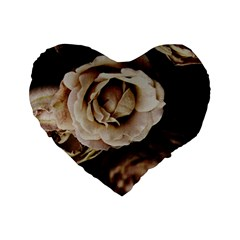 Roses Flowers Standard 16  Premium Flano Heart Shape Cushions by vanessagf