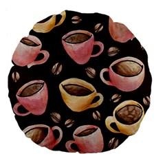 Coffee House Barista  Large 18  Premium Flano Round Cushions by BubbSnugg