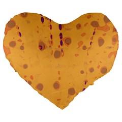 Orange Decor Large 19  Premium Flano Heart Shape Cushions by Valentinaart