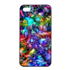 Blue Floral Abstract Apple Iphone 4/4s Seamless Case (black) by KirstenStar