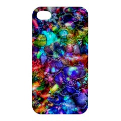 Blue Floral Abstract Apple iPhone 4/4S Hardshell Case by KirstenStar