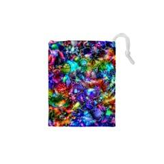 Blue Floral Abstract Drawstring Pouches (XS)  by KirstenStar