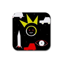 Stay Cool Rubber Coaster (square)  by Valentinaart
