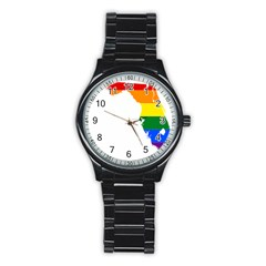 Lgbt Flag Map Of Florida Stainless Steel Round Watch by abbeyz71