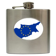European Flag Map of Cyprus  Hip Flask (6 oz) by abbeyz71