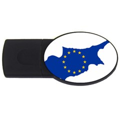 European Flag Map Of Cyprus  Usb Flash Drive Oval (4 Gb)  by abbeyz71