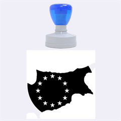 European Flag Map Of Cyprus  Rubber Round Stamps (large) by abbeyz71