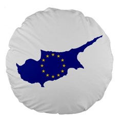 European Flag Map of Cyprus  Large 18  Premium Flano Round Cushions by abbeyz71