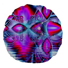 Crystal Northern Lights Palace, Abstract Ice  Large 18  Premium Flano Round Cushions by DianeClancy