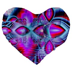 Crystal Northern Lights Palace, Abstract Ice  Large 19  Premium Flano Heart Shape Cushions by DianeClancy