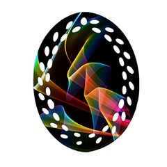 Crystal Rainbow, Abstract Winds Of Love  Oval Filigree Ornament (2 Side)  by DianeClancy