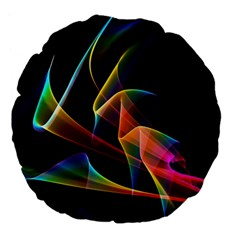 Crystal Rainbow, Abstract Winds Of Love  Large 18  Premium Flano Round Cushions by DianeClancy