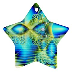 Crystal Lime Turquoise Heart Of Love, Abstract Ornament (star)  by DianeClancy