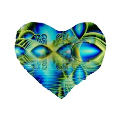 Crystal Lime Turquoise Heart Of Love, Abstract Standard 16  Premium Flano Heart Shape Cushions by DianeClancy