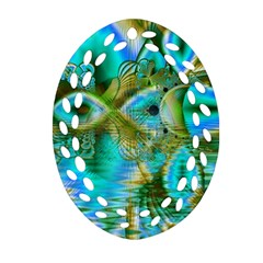 Crystal Gold Peacock, Abstract Mystical Lake Oval Filigree Ornament (2 Side)  by DianeClancy