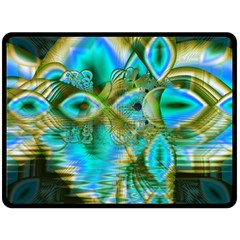 Crystal Gold Peacock, Abstract Mystical Lake Fleece Blanket (large)  by DianeClancy