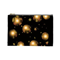 Golden Balls Cosmetic Bag (large)  by Valentinaart