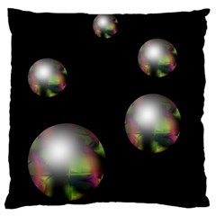 Silver Pearls Large Cushion Case (two Sides) by Valentinaart