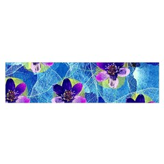 Purple Flowers Satin Scarf (oblong)
