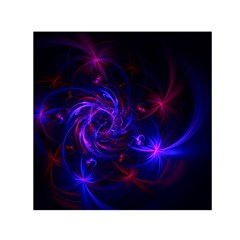 Pink, Red And Blue Swirl Fractal Small Satin Scarf (square) by traceyleeartdesigns